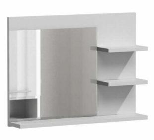 Levná bílá koupelnová polička se čtvercovým zrcadlem
