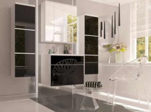 Koupelnová sestava v dekoru bílá-černý lesk
